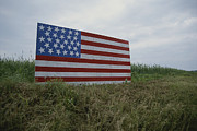 National Flags Framed Prints - A Patriotic Farmers Roadside American Framed Print by Stephen St. John
