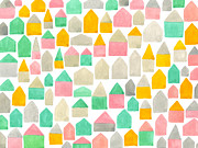 White Frame House Digital Art Prints - A Pattern Created From Different Colored And Shaped Houses Print by Natsuko Imai