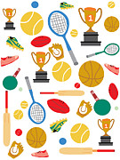 Table Tennis Racket Prints - A Pattern Of Sports Equipment And Trophies Print by Michelle Dybing