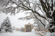 Urban Winter Scenes Prints - A Peaceful Winter Scene Print by Ralph Lee Hopkins