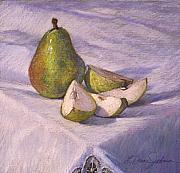 Tabletop Pastels Prints - A Pear Print by L Diane Johnson