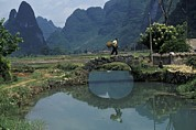 Chinese Peasant Framed Prints - A Peasant Crosses A Stone Bridge Framed Print by Raymond Gehman