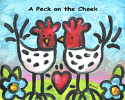 Kissing Paintings - A Peck on the Cheek by Renee Womack