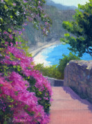 Cinque Terre Paintings - A Peek Beyond by Elaine Farmer