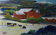 Barn And Silo Prints - A Pennsylvania Barn and Cattle Print by Donald McGibbon