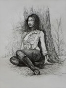 Long Hair Drawings - A Pensive Mood by Harvie Brown