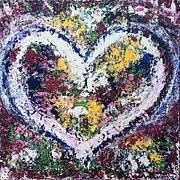 Bright Prints Painting Originals - A Perfect Heart by Rhiannon Marhi