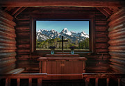 Log Cabin Framed Prints - A Pew With A View Framed Print by Sandra Bronstein
