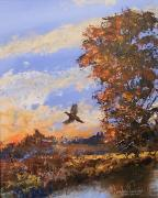 Landscapes Jewelry Prints - A Pheasent at Sundown Print by Douglas Trowbridge