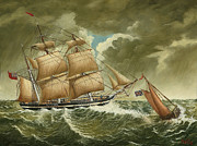 Tall Ships. Marine Art Paintings - A Pilot Boat Heading Back to Port as a Three-masted Barque Heads out to Sea by Eric Bellis