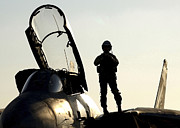 Us Open Art - A Pilot Prepares To Enter His F-14b by Stocktrek Images