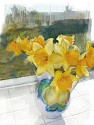 Pitchers Painting Metal Prints - A Pitcher of Yellow Daffodils in the Window Metal Print by Elaine Plesser