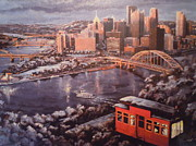 Urban Scenes Prints - A Pittsburgh Winter Print by James Guentner