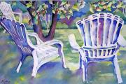 Chairs Mixed Media Framed Prints - A Place in the Shade Framed Print by Barbara Jung