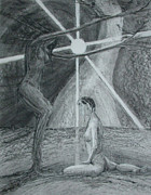 Spiritual Drawings Drawings Originals - A Place of Stillness by Mark Johnson