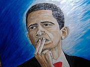 Barack Obama Mixed Media Originals - A Plan For Peace  by Keenya  Woods