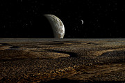 Exoplanet Prints - A Planet And Its Moon Are Dimly Lit Print by Frank Hettick