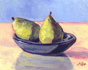 Blue Table Framed Prints - A Plate O Pears Framed Print by Michael Camp