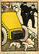 Litho Paintings - A police car runs over a little girl by Felix Edouard Vallotton