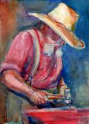 Hammer Paintings - A Portrait A Day 23 - Blacksmith by Yevgenia Watts
