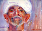 Wise Old Man Paintings - A Portrait A Day 35 - Egyptian by Yevgenia Watts