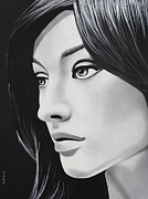 Straight Hair Painting Prints - A Portrait In Black And White Print by Dan Lockaby