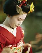 Entertainers Photo Prints - A Portrait Of A Kimono-clad Geisha Print by Justin Guariglia