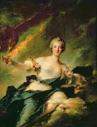 Goddess Of Beauty Posters - A Portrait of Anne Josephe Bonnnier de la Mossau  Poster by Jean Marc Nattier