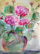 Geranium Paintings - A pot a spring by Julie Lueders
