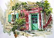 Provence Posters - A Pottery Shop in the Provence Poster by Tony Van Hasselt