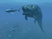 Behavior Digital Art - A Prehistoric Dunkleosteus Fish by Walter Myers