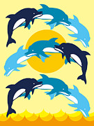 Dolphin Digital Art - A Print Of Dolphins Jumping And Creating A Pattern by Takashi Ueno