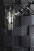 Recording Studio Posters - A Professional Microphone In A Home Poster by Roberto Westbrook