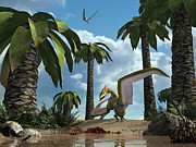Behavior Digital Art - A Pterosaur Flying Reptile Lands Next by Walter Myers