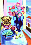 Pug Dog Posters - A Pugs Dinner at Henris - Pug Poster by Lyn Cook
