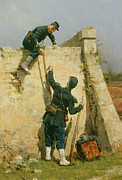 Soldier Paintings - A Quick Escape by Etienne Prosper Berne-Bellecour