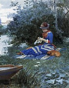 Stitching Prints - A Quiet Afternoon Print by William Henry Lippincott