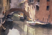 Canals Painting Prints - A Quiet Canal in Venice Print by Trevor Chamberlain