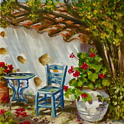Villa Paintings - A Quiet Corner by Yvonne Ayoub