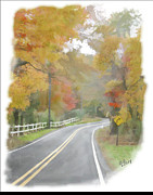 Autumn In The Country Prints - A Quiet Country Road Print by Bill Losey