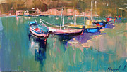 Boats Paintings - A quiet cove by Anastasija Kraineva