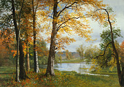 Tree Leaf On Water Framed Prints - A Quiet Lake Framed Print by Albert Bierstadt
