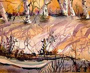 Landscape Drawings - A Quiet Light by Mindy Newman
