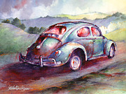 Wine Country Watercolor Paintings - A Rag Top Bug in Wine Country by Michael David Sorensen