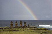 Devotional Art Photo Posters - A Rainbow Arches Above Statues Carved Poster by James P. Blair
