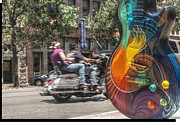 Austin Digital Art Posters - A Rainbow Guitar on Congress in Austin Poster by Jennifer Holcombe