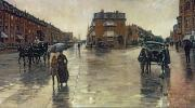 Carriage Horses Paintings - A Rainy Day in Boston by Childe Hassam