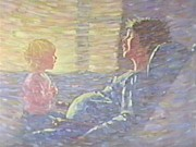 Woman In Rocking Chair Paintings - a REAL Baby Brother by Len Stomski