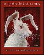 Bunny Painting Acrylic Prints - A Really Bad Hare Day... Acrylic Print by Will Bullas