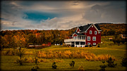 Pastureland Prints - A Red Farmhouse in a Fallscape Print by Chantal PhotoPix